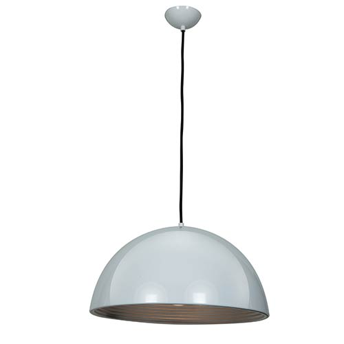 Astro Glossy White and Silver One-Light 19-Inch Wide Dome Pendant
