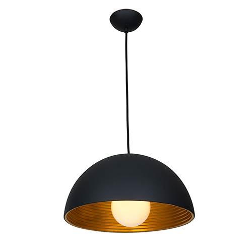 Astro Matte Black and Matte Gold One-Light 16-Inch Wide Dome Pendant