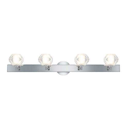 Glase Chrome Four-Light Vanity with Frosted and Clear Round Glass