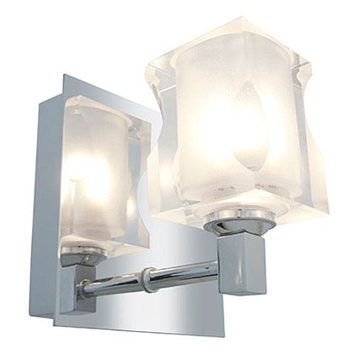 Glase Chrome One-Light Vanity with Frosted and Clear Glass