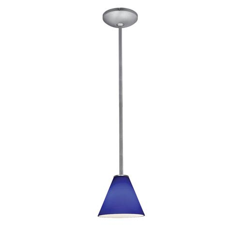 Martini LED Brushed Steel 1-Light Rod Pendant with Cobalt Glass Shade