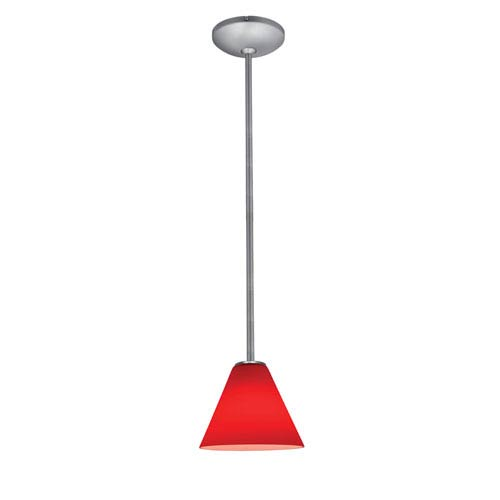 Access Lighting Martini Brushed Steel Fluorescent One-Light Rod Mini Pendant with Red Glass
