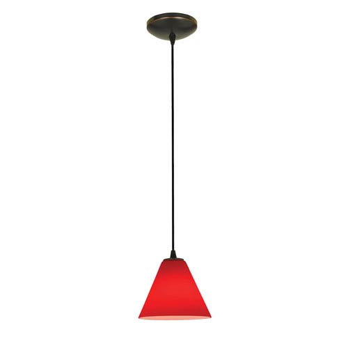 Martini Oil Rubbed Bronze LED Cord Mini Pendant with Red Glass Shade