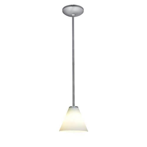 Access Lighting Martini Brushed Steel LED Rod Mini Pendant with White Glass Shade