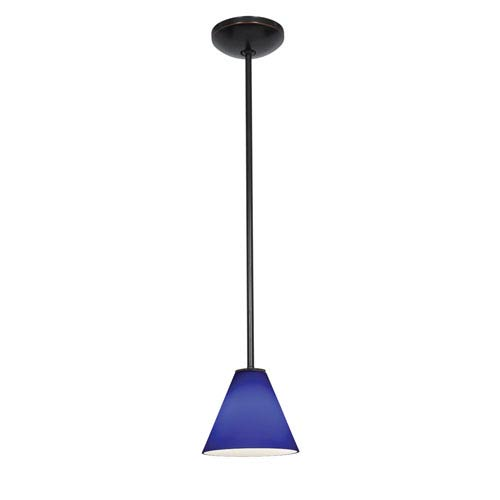 Access Lighting Martini Oil Rubbed Bronze LED Rod Mini Pendant with Cobalt Glass Shade