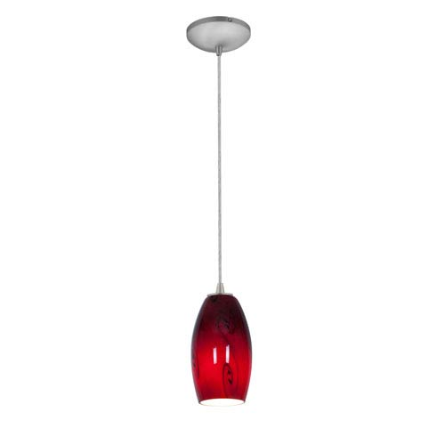 Merlot Brushed Steel One-Light Cord Mini Pendant with Red Sky Glass