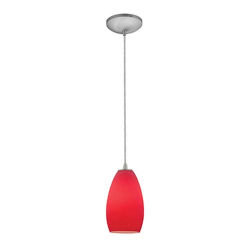 Champagne LED Brushed Steel 1-Light Cord Pendant with Red Glass Shade