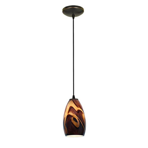 Champagne LED Oil Rubbed Bronze 1-Light Cord Pendant with Inca Glass Shade