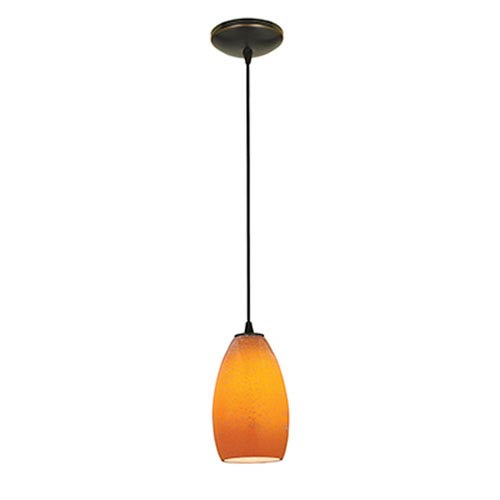 Champagne LED Oil Rubbed Bronze 1-Light Cord Pendant with Maya Glass Shade
