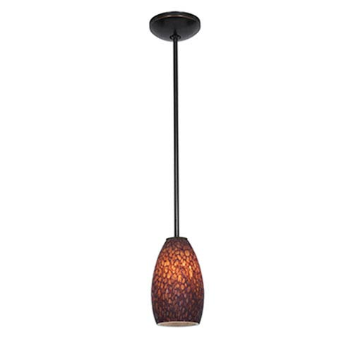 Champagne LED Oil Rubbed Bronze 1-Light Rod Pendant with Brown Glass Shade