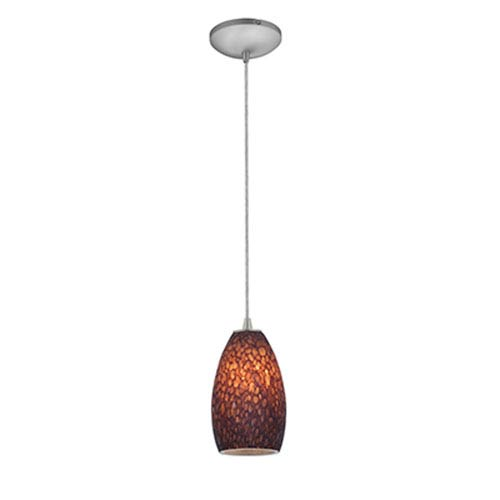 Champagne Brushed Steel Fluorescent Mini Pendant with Brown Stone Glass