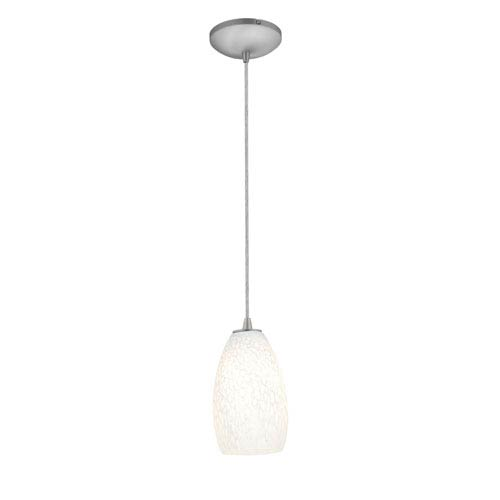 Access Lighting Champagne Brushed Steel Fluorescent Mini Pendant with White Stone Glass