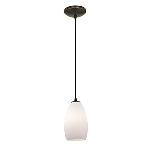Champagne Oil Rubbed Bronze LED Cord Mini Pendant with Opal Glass Shade