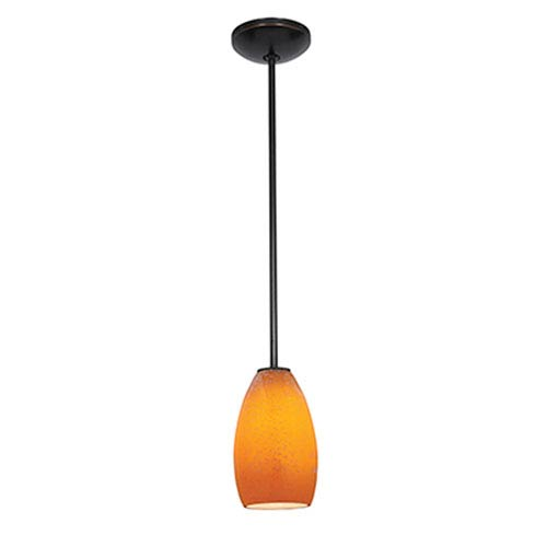 Champagne Oil Rubbed Bronze LED Rod Mini Pendant with Maya Glass Shade