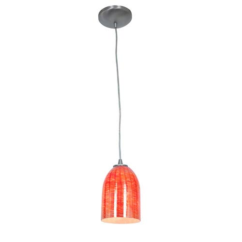 Access Lighting Sydney Brushed Steel and Wicker Red One-Light Cord Pendant