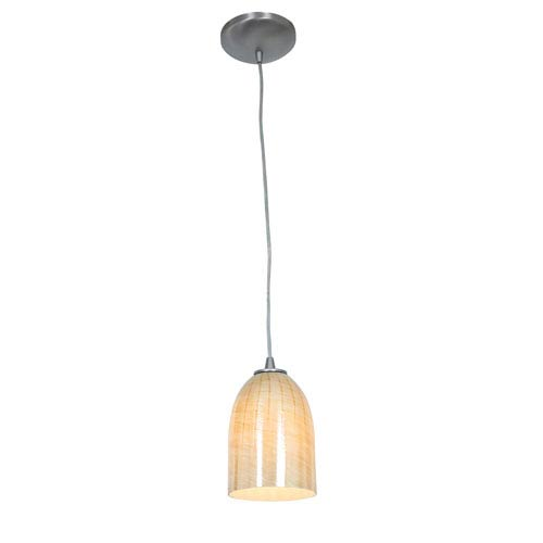 Tali Brushed Steel and Wicker Amber Glass One-Light Cord Pendant