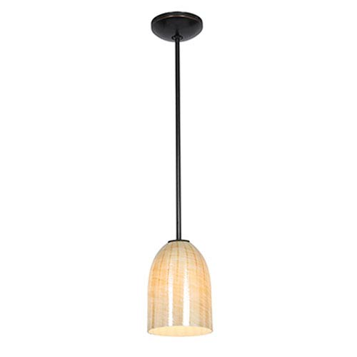 Access Lighting Champagne Oil Rubbed Bronze One-Light Rod Mini Pendant with Wicker Amber Glass