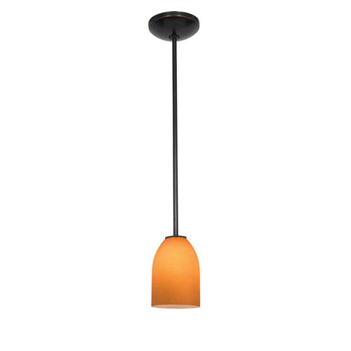 Access Lighting Bordeaux Oil Rubbed Bronze Fluorescent One-Light Mini Pendant with Amber Glass