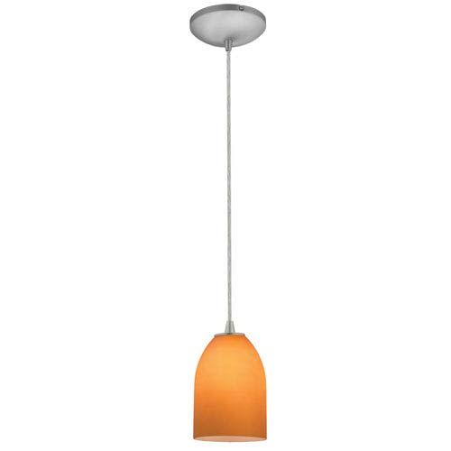Access Lighting Bordeaux Brushed Steel LED Cord Mini Pendant with Amber Glass Shade