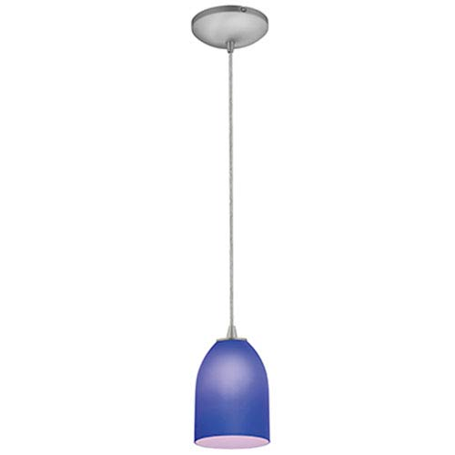 Access Lighting Bordeaux Brushed Steel LED Cord Mini Pendant with Cobalt Glass Shade