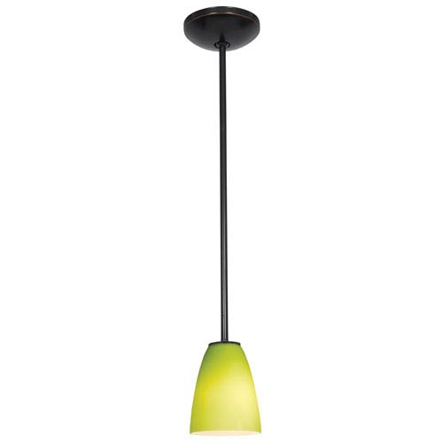 Access Lighting Flute Brushed Steel LED Cord Mini Pendant with Lime Green Glass Shade