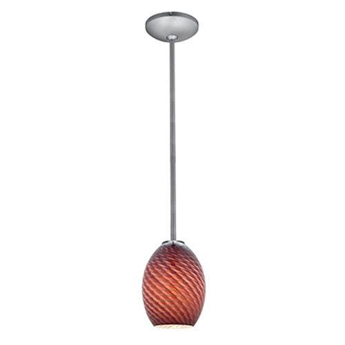 Brandy FireBird LED Brushed Steel 1-Light Rod Pendant with Plum Glass Shade