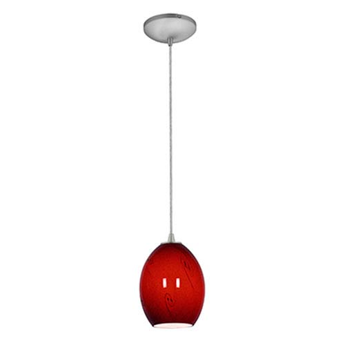 Brandy FireBird Brushed Steel LED Cord Mini Pendant with Red Sky Glass Shade