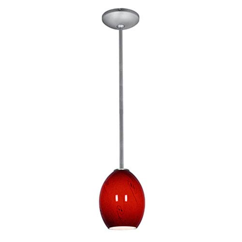 Access Lighting Brandy FireBird Brushed Steel LED Rod Mini Pendant with Red Sky Glass Shade
