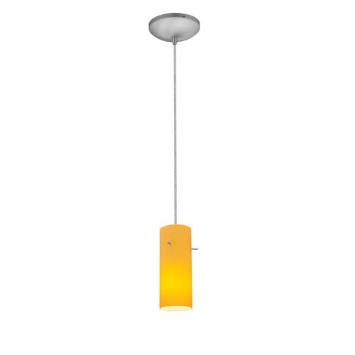 Access Lighting Cylinder Brushed Steel One-Light Cord Mini Pendant with Amber Glass