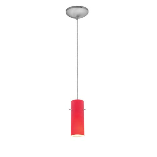 Cylinder Brushed Steel One-Light Cord Mini Pendant with Red Glass