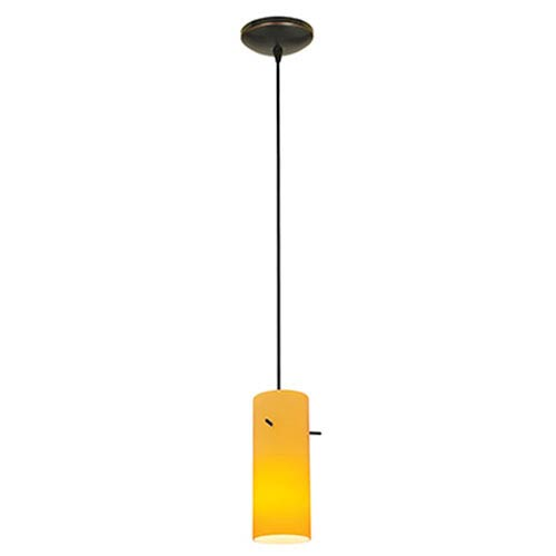 Access Lighting Cylinder Oil Rubbed Bronze LED Cord Mini Pendant with Amber Glass Shade