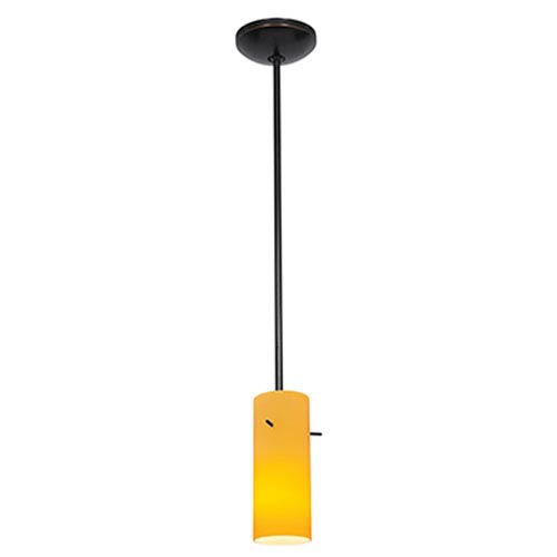 Access Lighting Cylinder Oil Rubbed Bronze LED Rod Mini Pendant with Amber Glass Shade