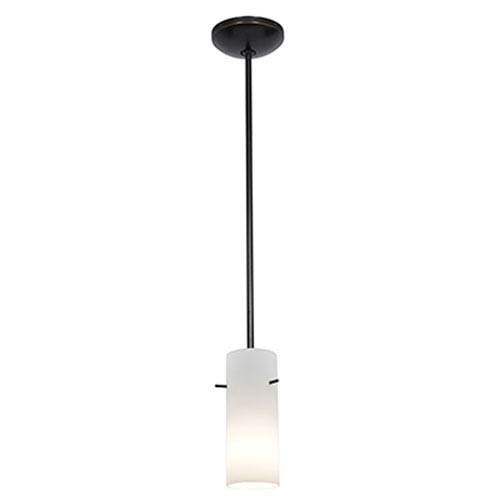 Cylinder Oil Rubbed Bronze LED Rod Mini Pendant with Opal Glass Shade