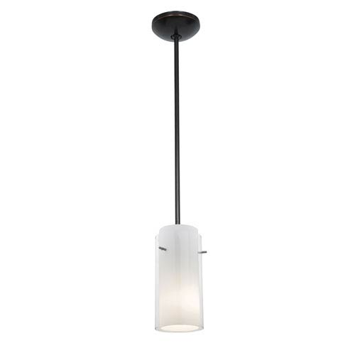 Access Lighting Glass n Glass Cylinder Oil Rubbed Bronze LED Rod Mini Pendant with Clear and Opal Glass Shade