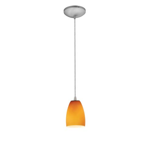 Sherry Brushed Steel LED Cord Mini Pendant with Amber Glass Shade