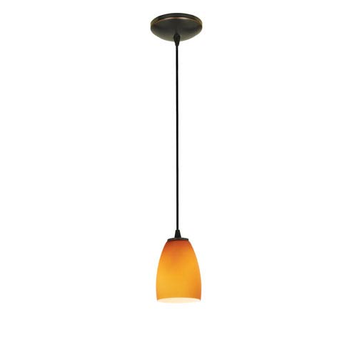 Sherry Oil Rubbed Bronze LED Cord Mini Pendant with Amber Glass Shade