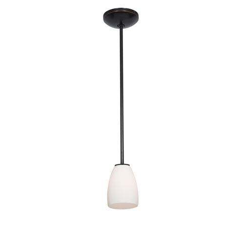 Access Lighting Sherry Oil Rubbed Bronze LED Rod Mini Pendant with Opal Glass Shade
