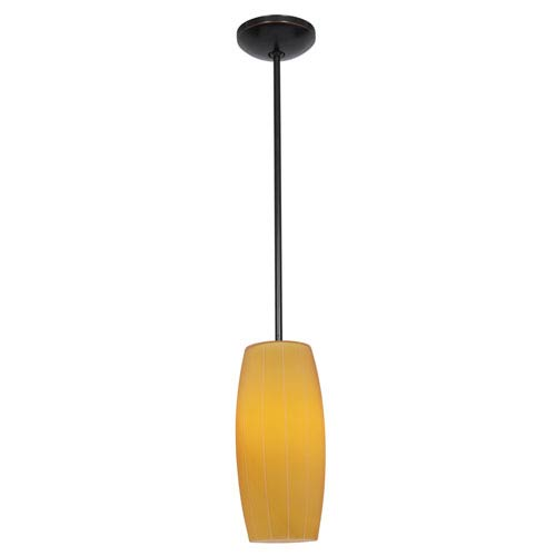 Cognac Oil Rubbed Bronze LED Rod Mini Pendant with Amber Glass Shade