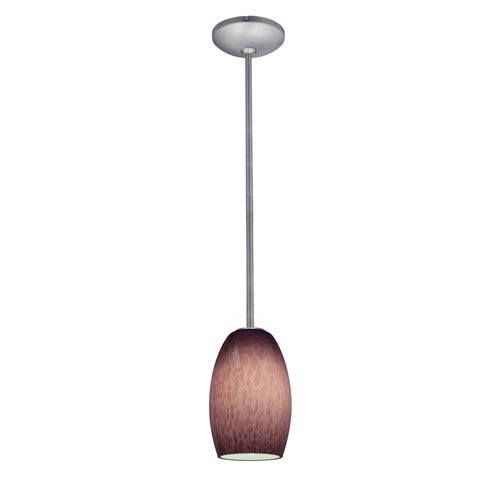 Access Lighting Chianti Brushed Steel One-Light Mini Pendant with Purple Cloud Glass