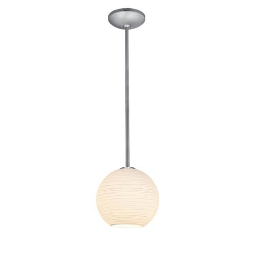 Access Lighting Japanese Lantern Brushed Steel 10-Inch LED Rod Mini Pendant with White Lined Glass Shade