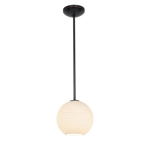 Access Lighting Japanese Lantern Oil Rubbed Bronze 10-Inch LED Rod Mini Pendant with White Lined Glass Shade