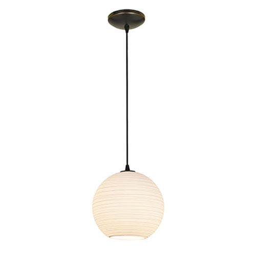 Access Lighting Japanese Lantern Oil Rubbed Bronze Fluorescent Pendant with White Lined Glass