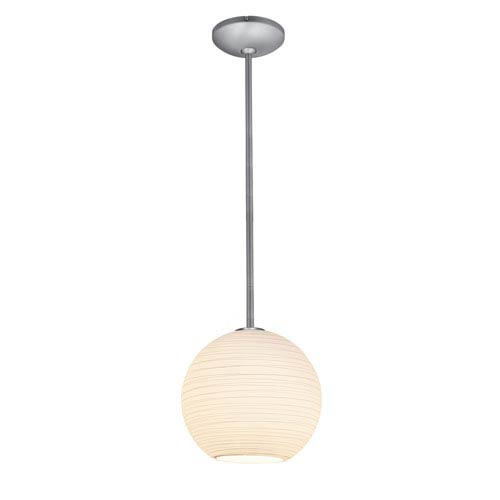 Japanese Lantern Brushed Steel 12-Inch LED Rod Pendant with White Lined Glass Shade