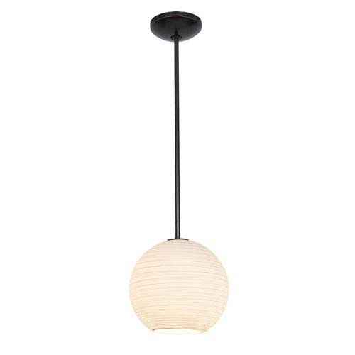 Access Lighting Japanese Lantern Oil Rubbed Bronze 12-Inch LED Rod Pendant with White Lined Glass Shade