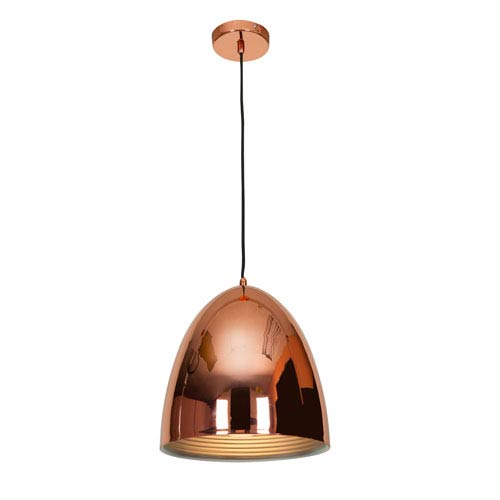 Essence Shiny Copper One-Light 12-Inch Pendant