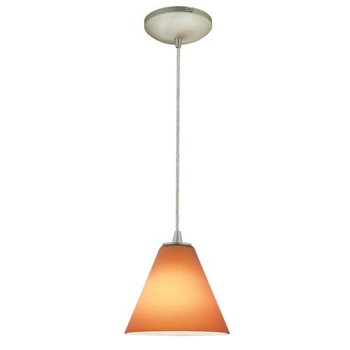 Sydney Brushed Steel One-Light Mini Pendant with Amber Glass