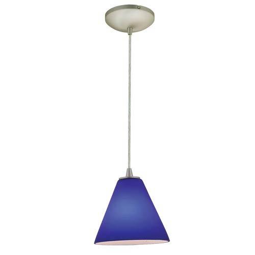 Access Lighting Sydney Brushed Steel One Light Mini Pendant With Cobalt Blue Gl