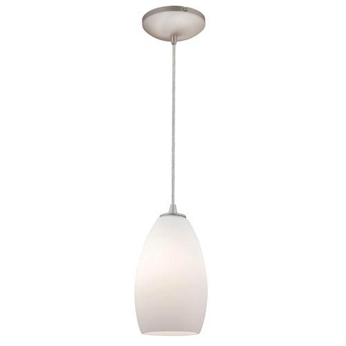 Sydney Brushed Steel One-Light Mini Pendant with Opal Glass