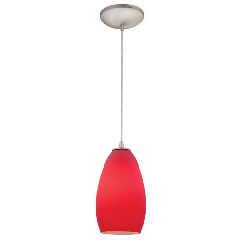 Sydney Brushed Steel One-Light Mini Pendant with Red Glass