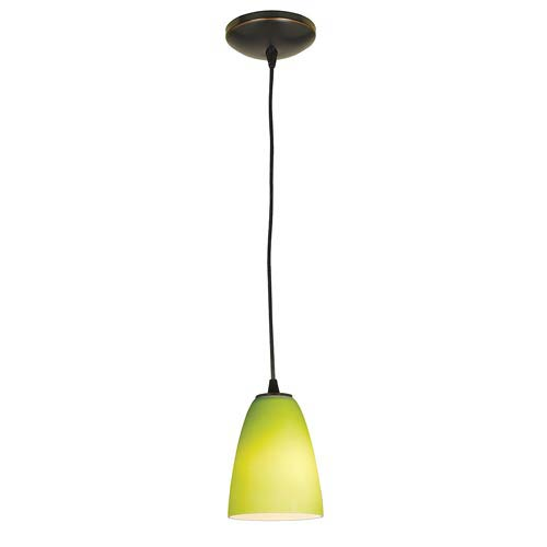 Sydney Oil Rubbed Bronze One-Light Mini Pendant with Light Green Glass